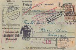 DR Paketkarte Mif Minr.91II UR, 114,4x 115 Darmstadt 18.6.20 Perfins Alexander Koch Gel. In Schweiz - Deutschland