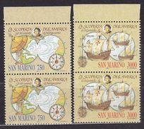 1991 San Marino Saint Marin CRISTOFORO COLOMBO II 2 Serie Di 2v. MNH** Coppia - Christopher Columbus