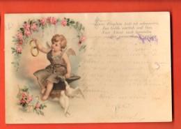 GAH-15 Ange Avec Anneaux D'or, Colombes. Précurseur, Cachet 1900 - Angeles