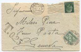 1935 IMPERIALE C. 25 BUSTA 24.10.35 TARIFFA LETTERA DISTRETTO FERMO POSTA DIRITTIO SEGNATASSE C. 25 GEMELLI (8197) - Storia Postale