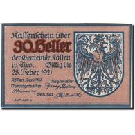 Autriche, Kaufen In Tirol, 30 Heller, Blason, 1921, 1921-02-28, Bleu, NEUF - Austria