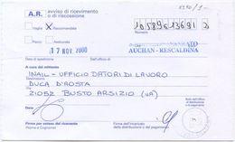 2001 RARO TIMBRO MILANO SPORTELLO AVANZATO AUCHAN RESCALDINA SU AVVISO RICEVIMENTO RACC. 17.11.00 (8190) - 6. 1946-.. Repubblica