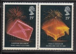 Great Britain 1989 MNH Scott #1253a Pair 19p Mortarboard, Ballot - Fireworks - Institutions Européennes