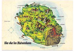 ILE DE LA REUNION - Carte Géographique Stylisée - Ed. JC NOURAULT - La Réunion