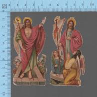 CHROMO DECOUPIS  GAUFRÉ- 2 ANCIENNES LITHO, LA RESURECTION, SOLDAT ANGES TOMBEAU - Easter