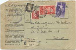 1938 ILLUSTRI C.75 + AUGUSTO C.50 + IMPERIALE C.10 + L.2 SU BUSTA RAC. ATTI GIUDIZIARI 4.5.38 MISTA COMMEMORATIVI (A975) - 1900-44 Vittorio Emanuele III