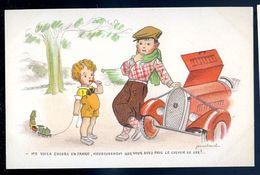 Cpa Illustrateur Jean Cheval .. En Panne , Heureusement Que Vous Avez Pris Le Chemin De Fer    Sep17- 70 - Cheval