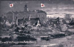 Weltkrieg-Postkarte, Es Weht Die Flagge Vom Roten Kreuz (31) - Weltkrieg 1914-18