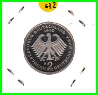 ALEMANIA -GERMANY - MONEDA DE  2.00 DM  AÑO 1980- D - KURT SCHUMACHER - S/C - [ 7] 1949-… : RFA - Rep. Fed. Alemana