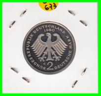 ALEMANIA -GERMANY - MONEDA DE  2.00 DM  AÑO 1980- G- KURT SCHUMACHER - S/C - [ 7] 1949-… : RFA - Rep. Fed. Alemana