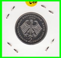 ALEMANIA -GERMANY - MONEDA DE  2.00 DM  AÑO 1982- J - KURT SCHUMACHER  S/C - [ 7] 1949-… : RFA - Rep. Fed. Alemana