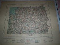 CARTE GEOGRAPHIQUE  G - Format  45 X 71 De COTES Du NORD_FINISTERE_Feuille_ LANNION_V_ 14 ) En 1898 - Geographische Kaarten