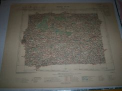 CARTE GEOGRAPHIQUE  G - Format  45 X 71 De ILLE Et VILAINE_Feuille_ VITRE_IX_ 16 ) En 1896 - Geographische Kaarten