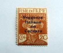 ITALIA, FIUME 1920, REGGENZA ITALIANA DEL CARNARO , CENT 20 OCRA, GOMMA INTEGRA MNH** - 8. Besetzung 1. WK