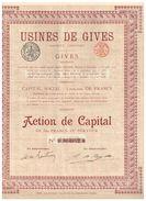 Action Ancienne - Usines De Gives  - Titre De 1923 - Industrial