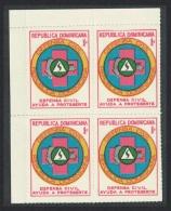 Dominican Rep. Obligatory Tax Civil Defence Fund 1v Top Left Corner Block Of 4 SG#1003 - República Dominicana