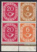 DEUTSCHLAND - ALLEMAGNE - GERMANIA - 1951 - Porzione Di Carnet Comprendente 4 Valori Nuovi MNH: Yvert 10, 12, 20 E 20 - Nuevos