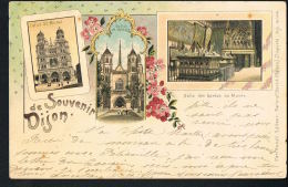 SOUVENIR DE DIJON - LITHO-Multivues - Voyagée 1901- Scannée Recto Verso- Trés Bel Ensemble- Paypal Sans Frais - Dijon