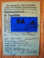 Jugendherbergsausweis, Bleibenausweis Für Jugendliche Gau Unserweser Ems, Reichsverband Für Deutsche Jugendliche Lichtbi - Documenti Storici