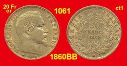 20 Francs Or France 1061 De 1860BB TTB+ (ct1) Napoléon III, Tête Nue, 900 ‰ 6,45 Gr Tirage % De 5 726 718 - Gold