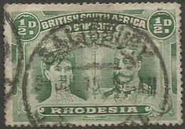 Rhodesia - 1910 King George V & Queen Mary 1/2d Blueish-green Perf 15 Used    SG 167 - Great Britain (former Colonies & Protectorates)