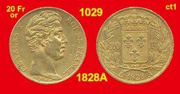 20 Francs Or France G1029 De 1828A TTB (ct1) Charles X, 900 ‰ 6,45 Gr Tirage 278 872 - Or