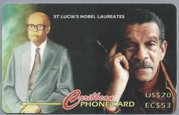 Telefoonkaart. Caribbean PHONE CARD. St. LUCIA'S NOBEL LAUREATES. US $ 20, EC $ 53. Limited Edition. 2 Scans - Santa Lucía