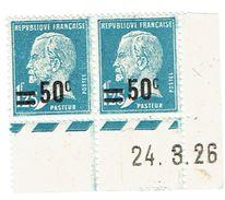 222 Pasteur 1,50 F. Surchargé 50 C. Bleu Coin Daté 24-03-1926 A - ....-1929