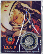 34p Russia Medal-coin. Gagarin - First Man In Space. Sealed Plastic - Tokens & Medals