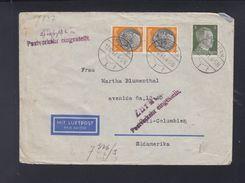 Dt. Reich Luftpost Brief 1941 Potsdam Nach Kolumbien Zurück Postverkehr Eingestellt - Briefe U. Dokumente