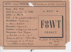 Cpa.Cartes QSL.F8WT.1950.Louis Pascal Chatillon Sur Seine - Radio Amateur
