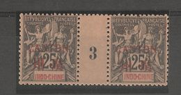Indo-chine_Millésimes 25c Surch.Canton En Rouge 1893  N° 10 - Ohne Zuordnung