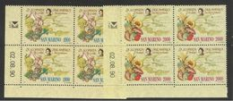 1990 San Marino Saint Marin CRISTOFORO COLOMBO 4 Serie Di 2v. MNH** In Quartina Bl.4 - Christopher Columbus