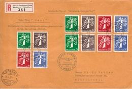 """Swissair-Europaflug 1939 """"West"""" (7-Städte-Rundflug) Mit Zu 228-239 Mi 344-355 Yv 329-340 (Zu CHF 80.00 Für O + Flug) - Poste Aérienne"""