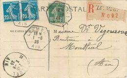 LEYMENT(01 - AIN) RECOMMANDE -1923, VIGNETTE ET CACHETS OCTOGONAUX SUR TROIS TIMBRES SEMEUSE - Vers MONTLUHEL (01 - AIN) - Marcophilie (Lettres)