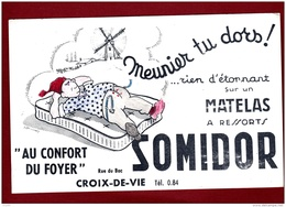 """Buvard  :  Matelas Somidor  Magasin """" Au Confort Du Foyer  """"  Croix De Vie  Vendée - Ohne Zuordnung"""
