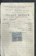 FACTURE DE 1926 MILLET BERGER CHARBONS DE BOIS DE TERRE & COKE ANTHRACITES ANGLAIS & BELGE A ROMILLY SUR SEINE : - Petits Métiers