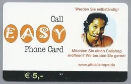 DE.- Duitsland. Call EASY Phone Card.  € 5,00. PTT, Kettwiger Strasse 29, Essen. 2 Scans. - GSM, Voorafbetaald & Herlaadbare Kaarten