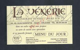 CDV CARTE DE VISITE LA VENERIE RESTAURANT A ORLEANS : - Visiting Cards