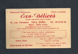 CDV CARTE DE VISITE EXO DELICES RESTAURANT APARIS RUE PRIMATICE : - Visiting Cards