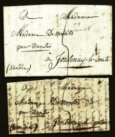 LOT 2 LETTRES PRECURSEURS FRANCE- MARQUES POSTALES - 71 LE MANS -1820 ET 1822- TAXE A LA PLUME 5 DECIMES- - 1801-1848: Vorläufer XIX