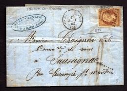 LETTRE CLASSIQUE FRANCE- STE-FOY-LA-GRANDE TIMBRE EMPIRE N° 13 BRUN- CAD TYPE 15 DE 1862- 2 SCANS - 1849-1876: Periodo Classico