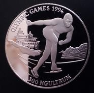 """BHUTAN 300 NGULTRUM 1992 SILVER PROOF """"OLYMPIC GAMES 1994"""" (free Shipping Via Registered Air Mail) - Bhutan"""