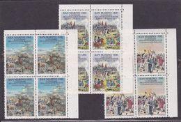 1989 San Marino Saint Marin RIVOLUZIONE FRANCESE FRENCH REVOLUTION 4 Serie Di 3v. MNH** Quartina Bl.4 - Rivoluzione Francese