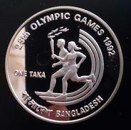 "Bangladesh 1 TAKA 1992 SILVER PROOF ""Barcelona 1992 - 25th Summer Olympic Games"" Free Shipping Via Registered Air Mail - Bangladesh"