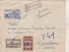 Liban Lettre Recommandée De Beyrouth Avec Yvert PA 34 - 1947 Pour Casablanca Maroc - Liban