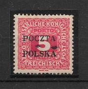 POLOGNE POLAND POLSKA TAXE AN 1919 TIMBRE POSTE D'AUSTRIE DE 1916 AVEC POCZTA POLSKA EN SURCHARGE COTATION YVERT TELLIE - Segnatasse