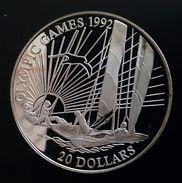 "KIRIBATI 20 DOILLARS 1992 SILVER PROOF ""Barcelona Olympics - Sailing"" Free Shipping Via Registered Air Mail - Kiribati"