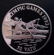 "VANUATU 50 VATU 1992 SILVER PROOF ""Olympics Games 1992"" Free Shipping Via Registered Air Mail - Vanuatu"