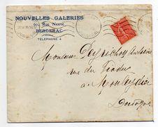 1930--lettre De Bergerac-24 Pour MOULEYDIER-24-Type Semeuse Lignée-cachet Krag-Nouvelles Galeries - Marcophilie (Lettres)